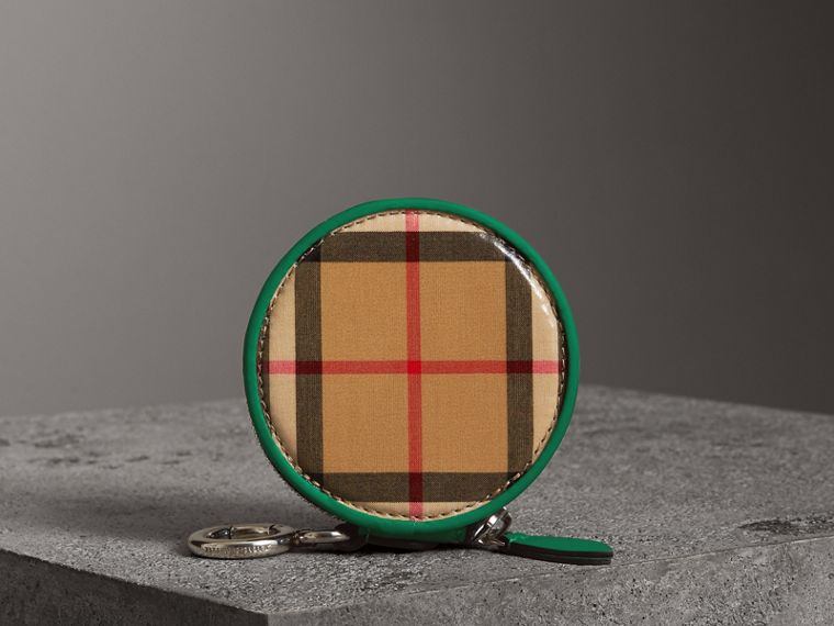 Coated Vintage Check Coin Case in Palm Green | Burberry - cell image 4