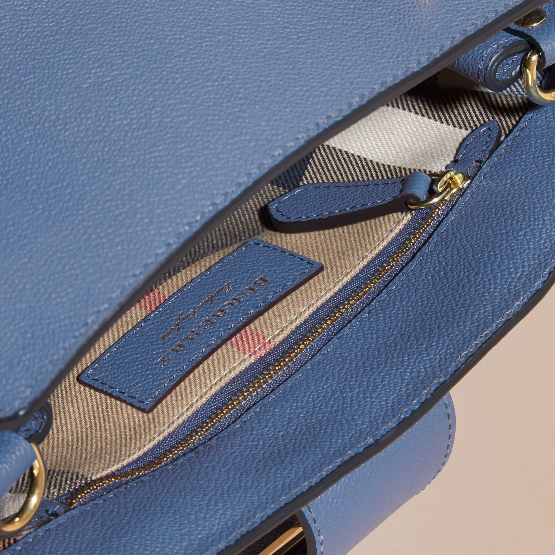 The Small Buckle Tote in Grainy Leather Steel Blue - gallery image 6