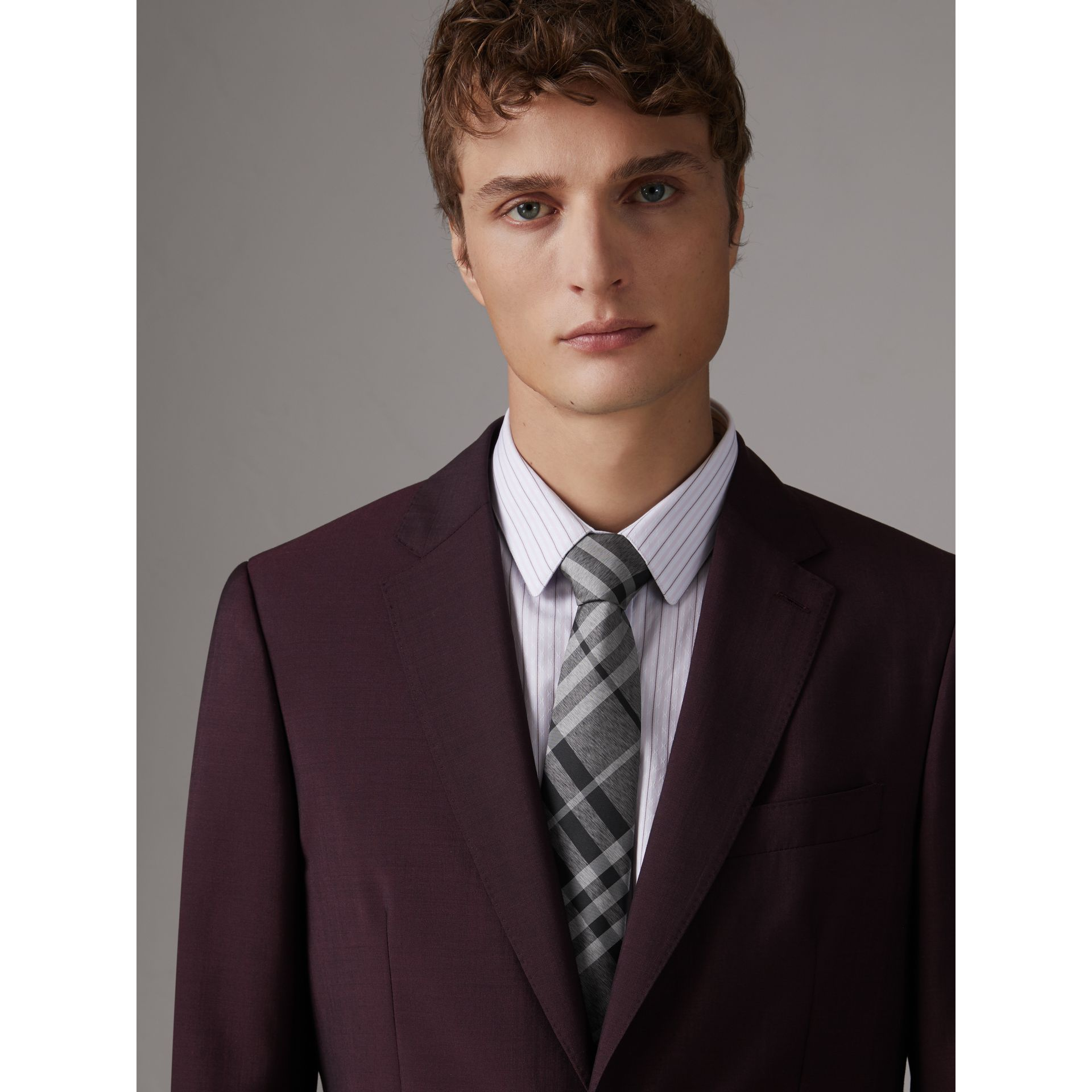 Modern Cut Check Silk Tie in Mineral Grey - Men | Burberry - gallery image 3