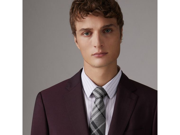 Modern Cut Check Silk Tie in Mineral Grey - Men | Burberry - cell image 2