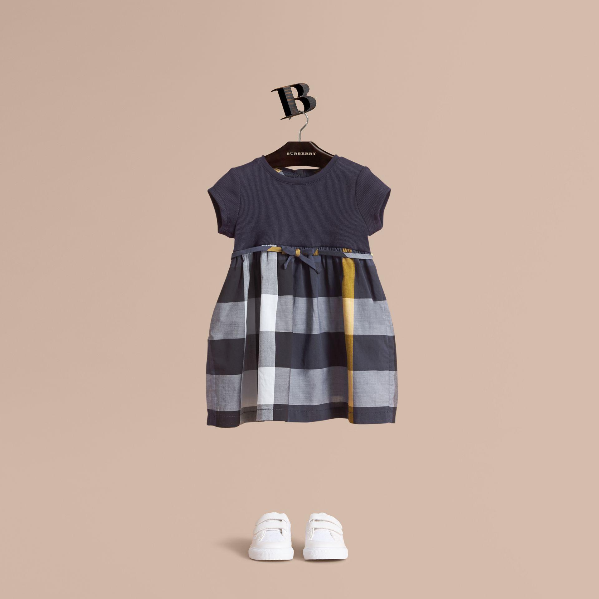 Check Cotton Jersey T-shirt Dress in Pale Navy | Burberry - gallery image 0