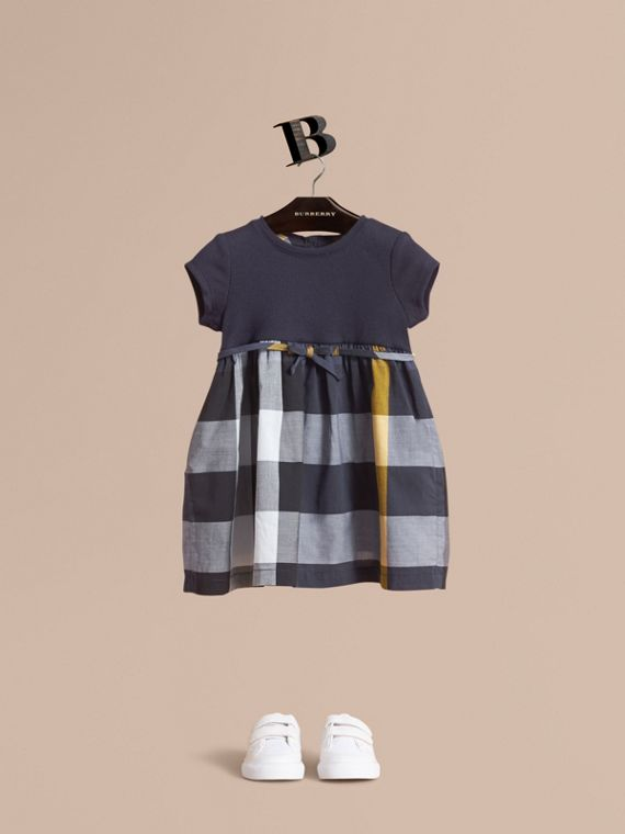 Check Cotton Jersey T-shirt Dress in Pale Navy | Burberry