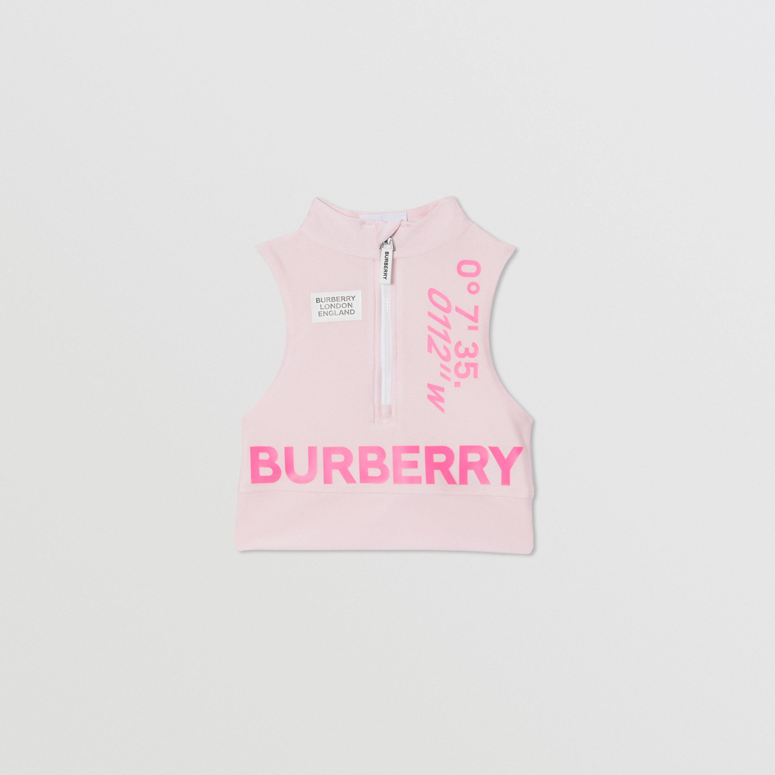 Montage Print Stretch Jersey Cropped Top in Cool Pink | Burberry - 1