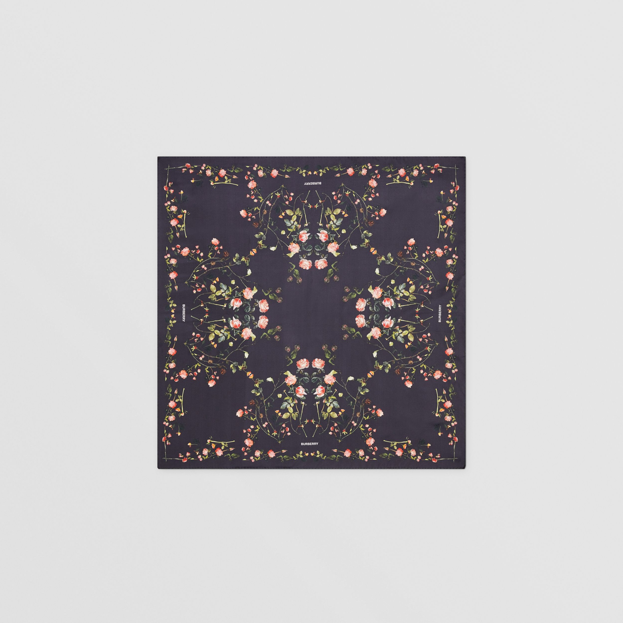 Rose Print Silk Square Scarf in Black | Burberry United States - 1