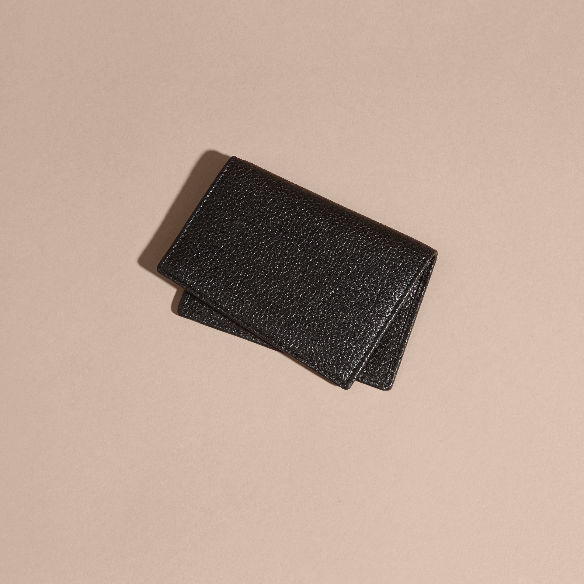 Black Grainy Leather Card Holder - gallery image 4