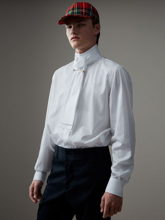 Herringbone Cotton Tie-neck Riding Shirt in White