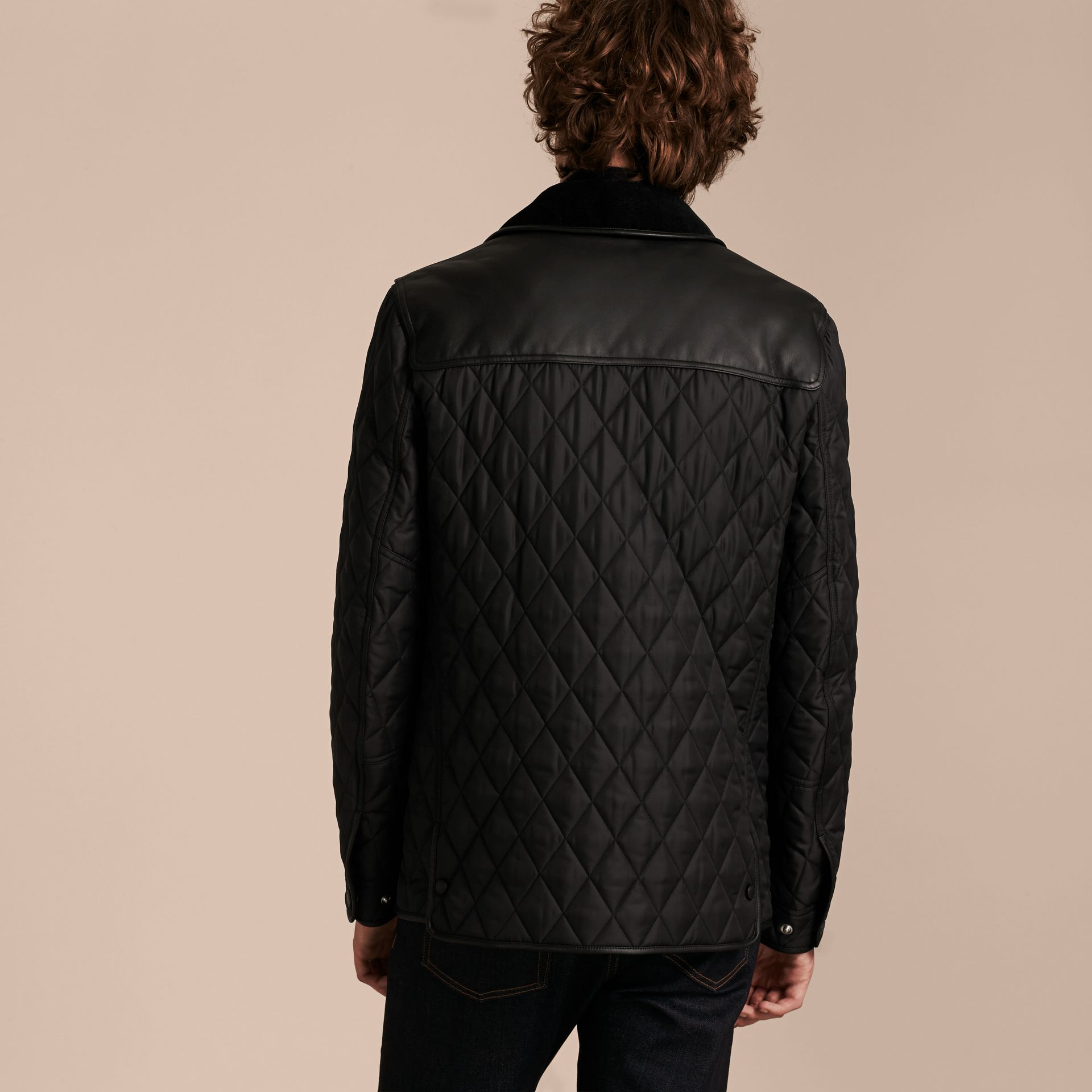 Black Lambskin Yoke Diamond Quilted Jacket - gallery image 3
