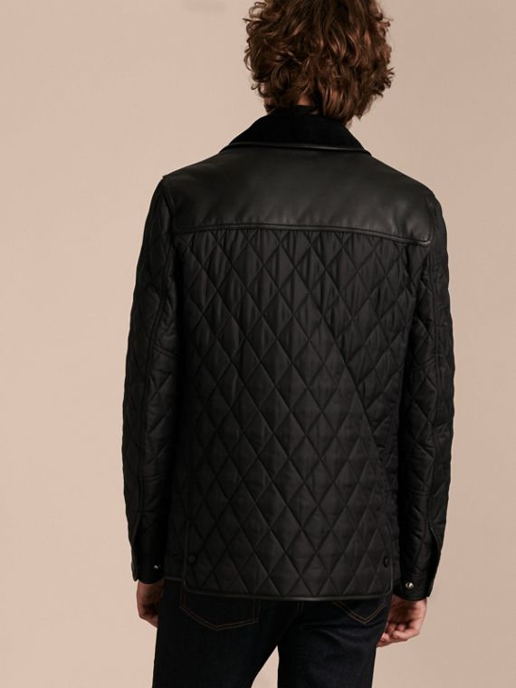 Black Lambskin Yoke Diamond Quilted Jacket - cell image 2
