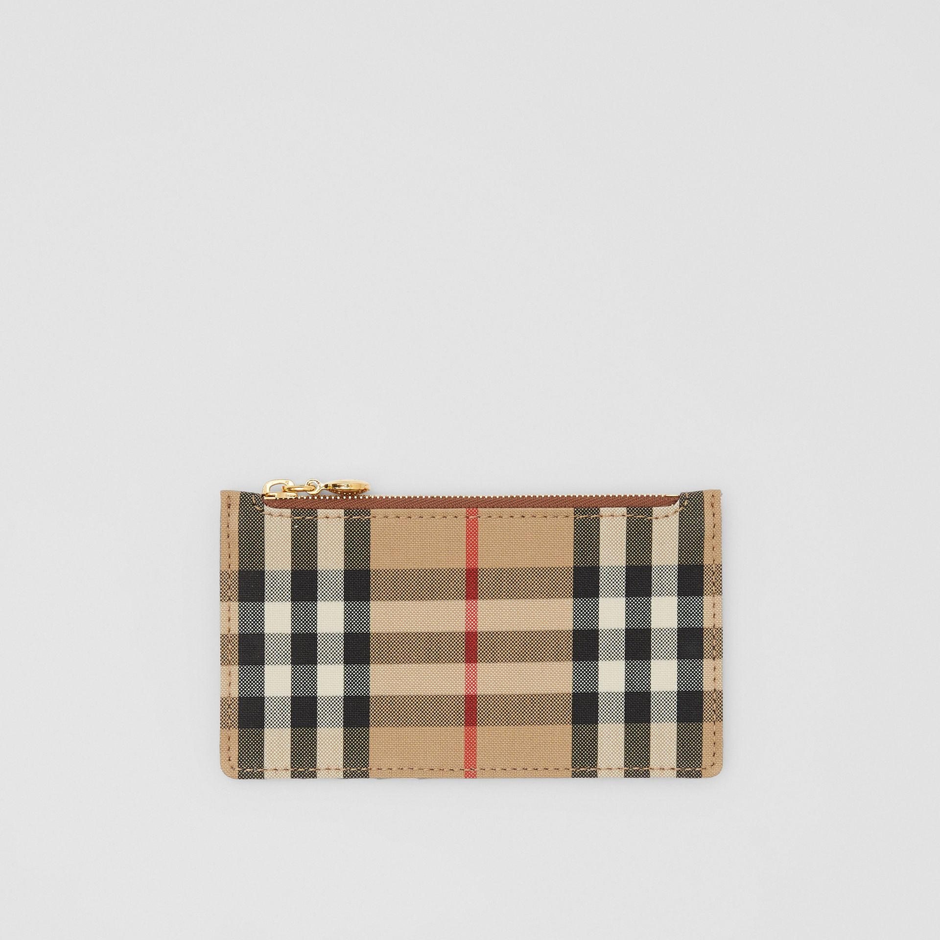 Vintage Check and Leather Zip Card Case in Tan - Women | Burberry Hong Kong S.A.R - gallery image 0