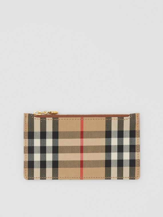 Vintage Check and Leather Zip Card Case in Tan