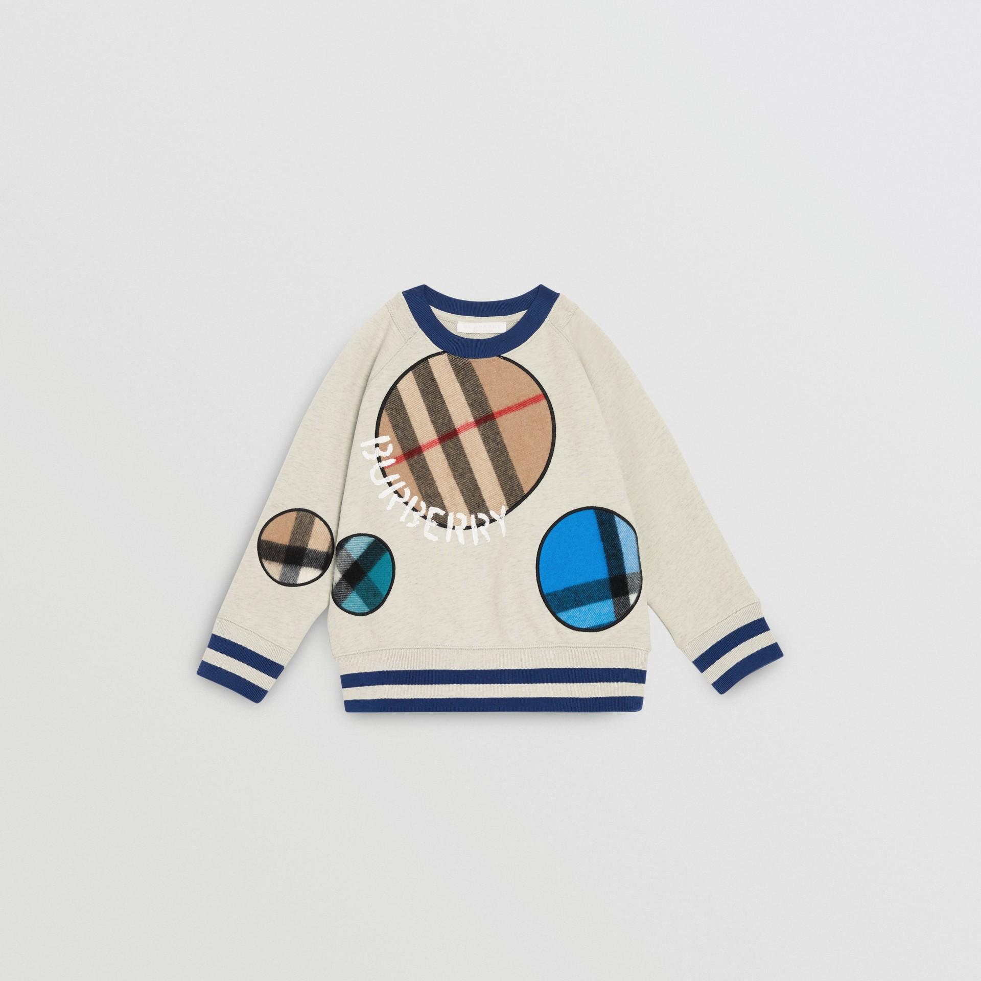 Check Appliqué Cotton Sweatshirt in Multicolour | Burberry - gallery image 0