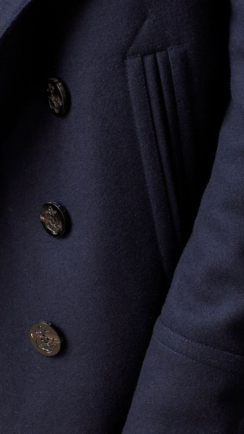 Navy Wool Cashmere Pea Coat - Image 5
