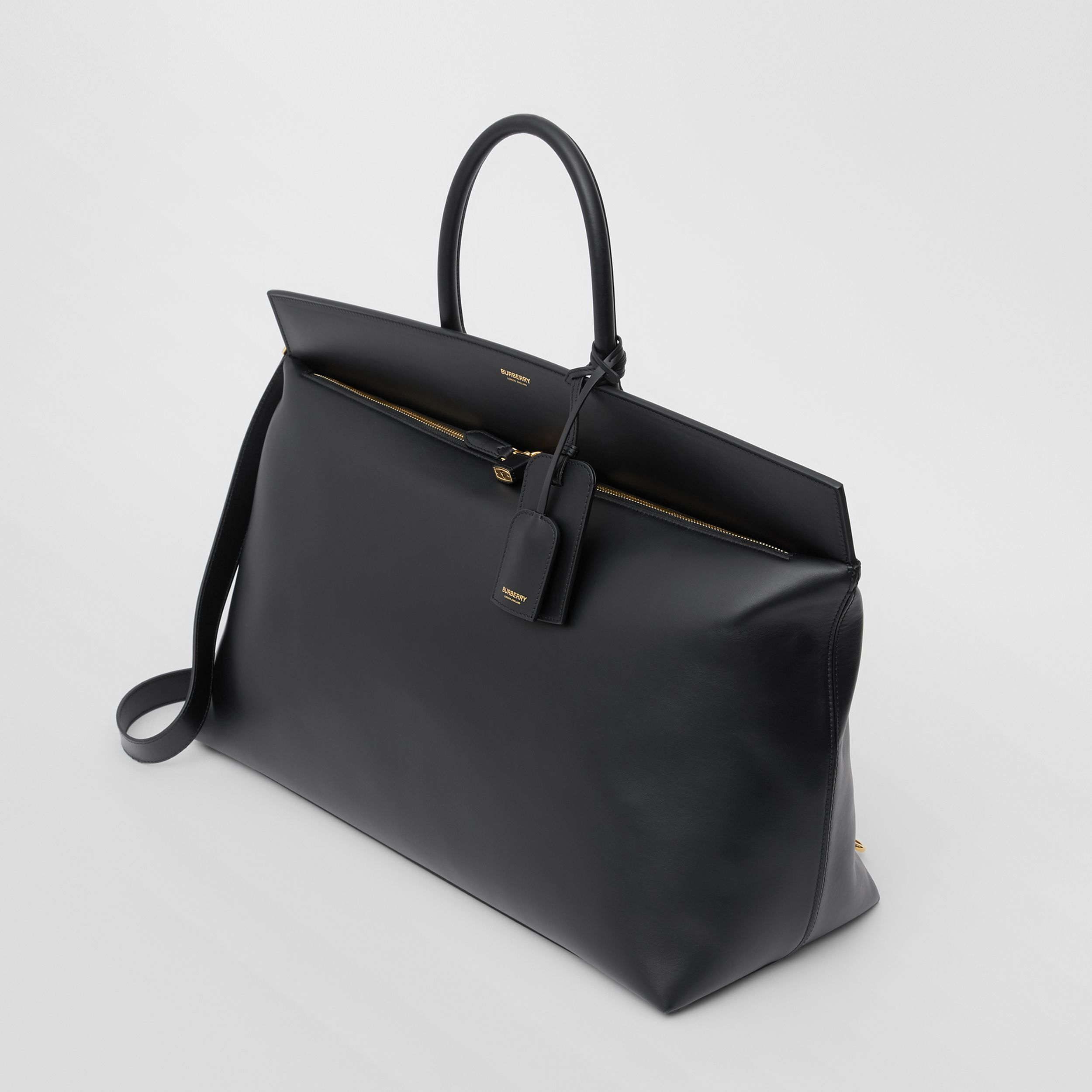 Extra Large Leather Society Top Handle Bag in Black | Burberry - 4