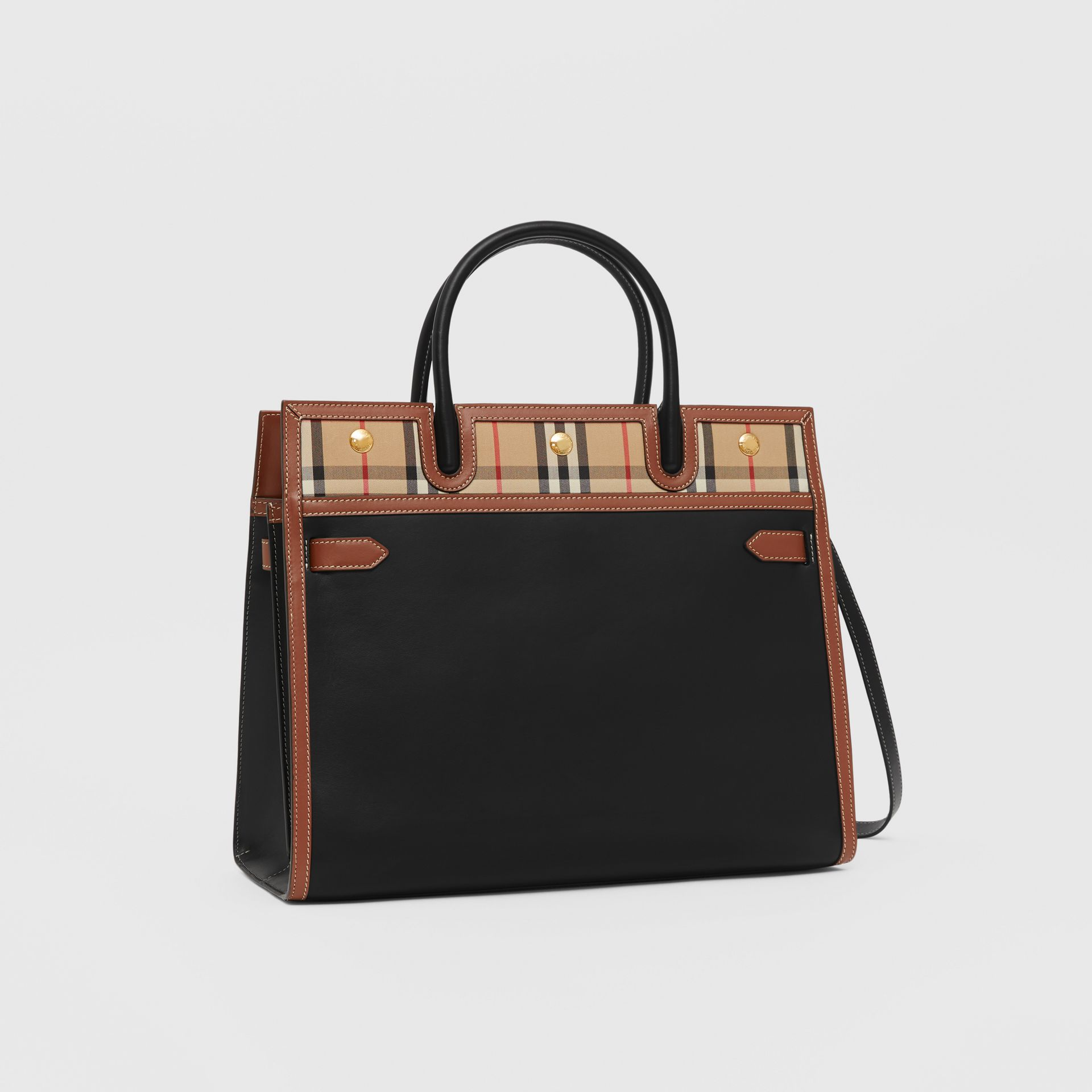 Medium Leather and Vintage Check Two-handle Title Bag in Black - Women | Burberry - gallery image 6