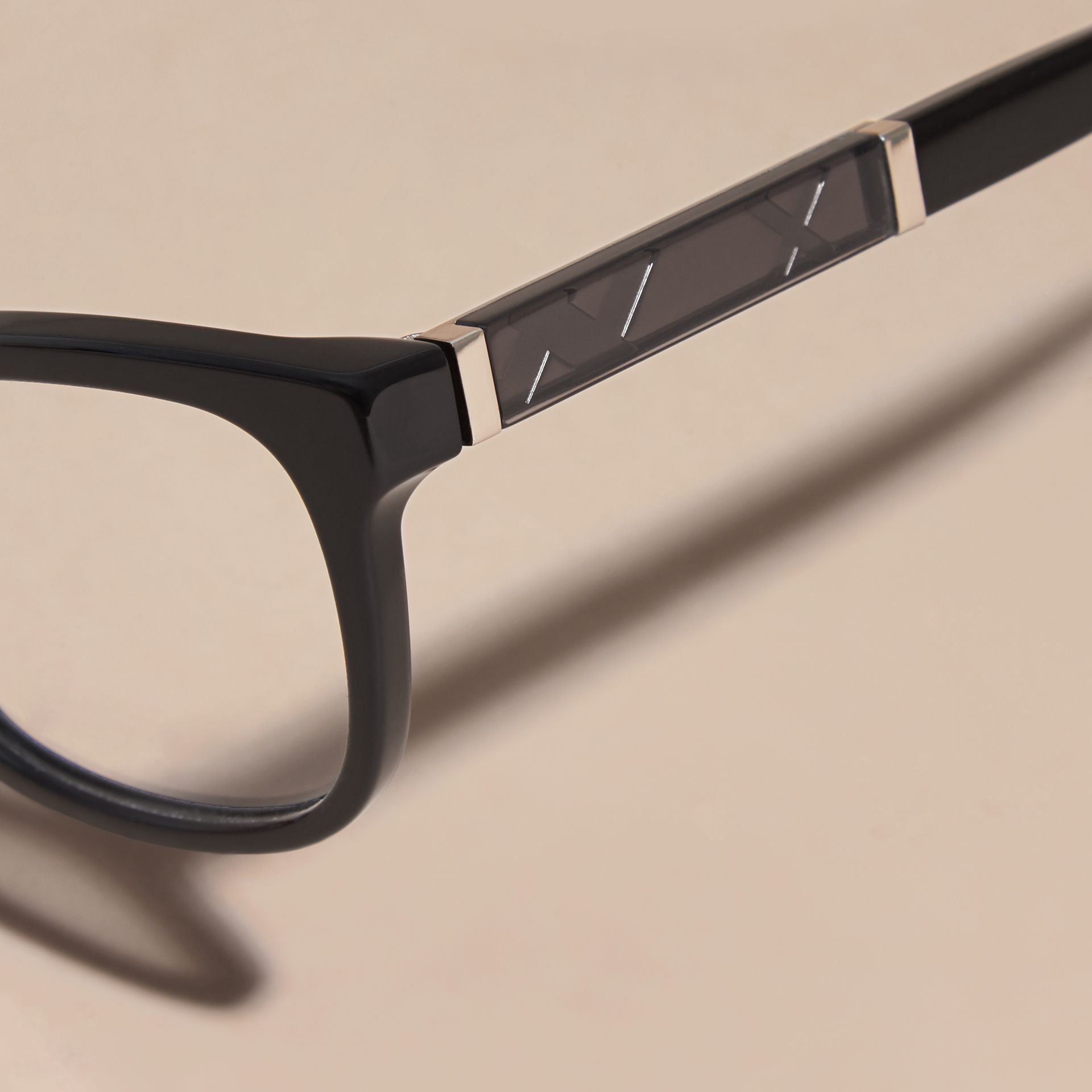 Check Detail Oval Optical Frames in Black - gallery image 2