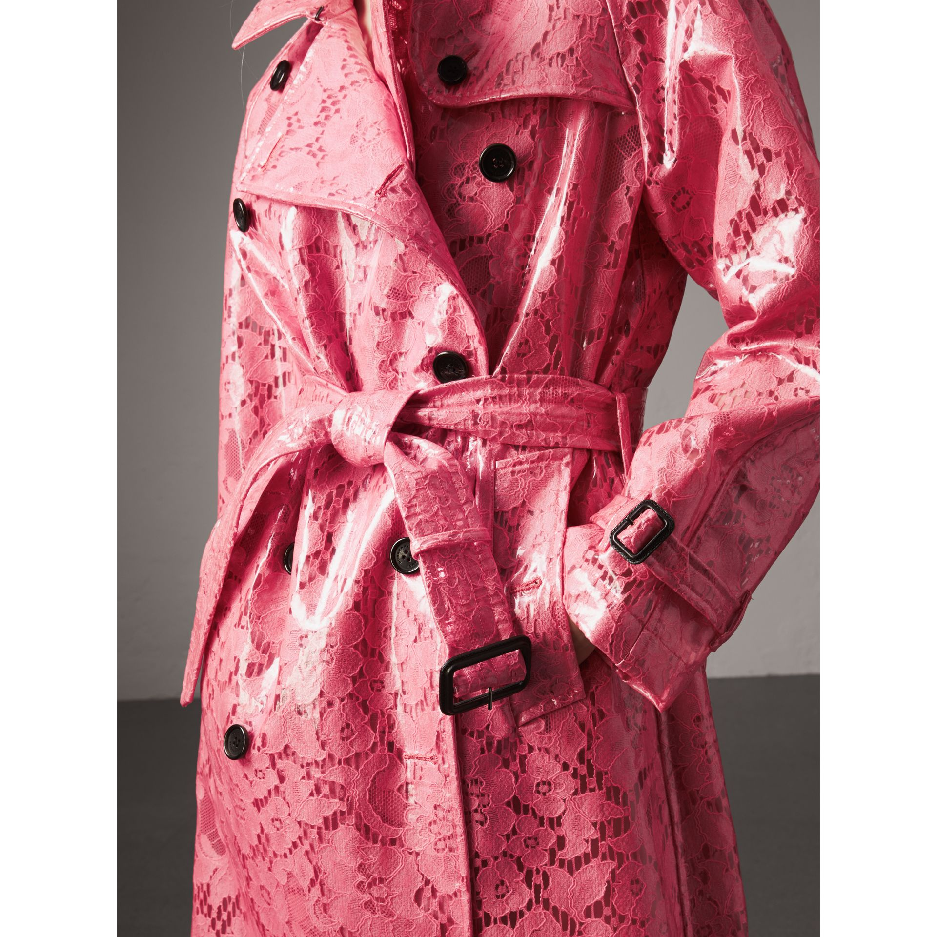 Laminated Lace Trench Coat in Bright Pink - Women | Burberry United Kingdom - gallery image 1