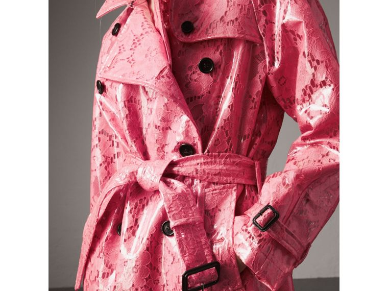 Laminated Lace Trench Coat in Bright Pink - Women | Burberry United Kingdom - cell image 1