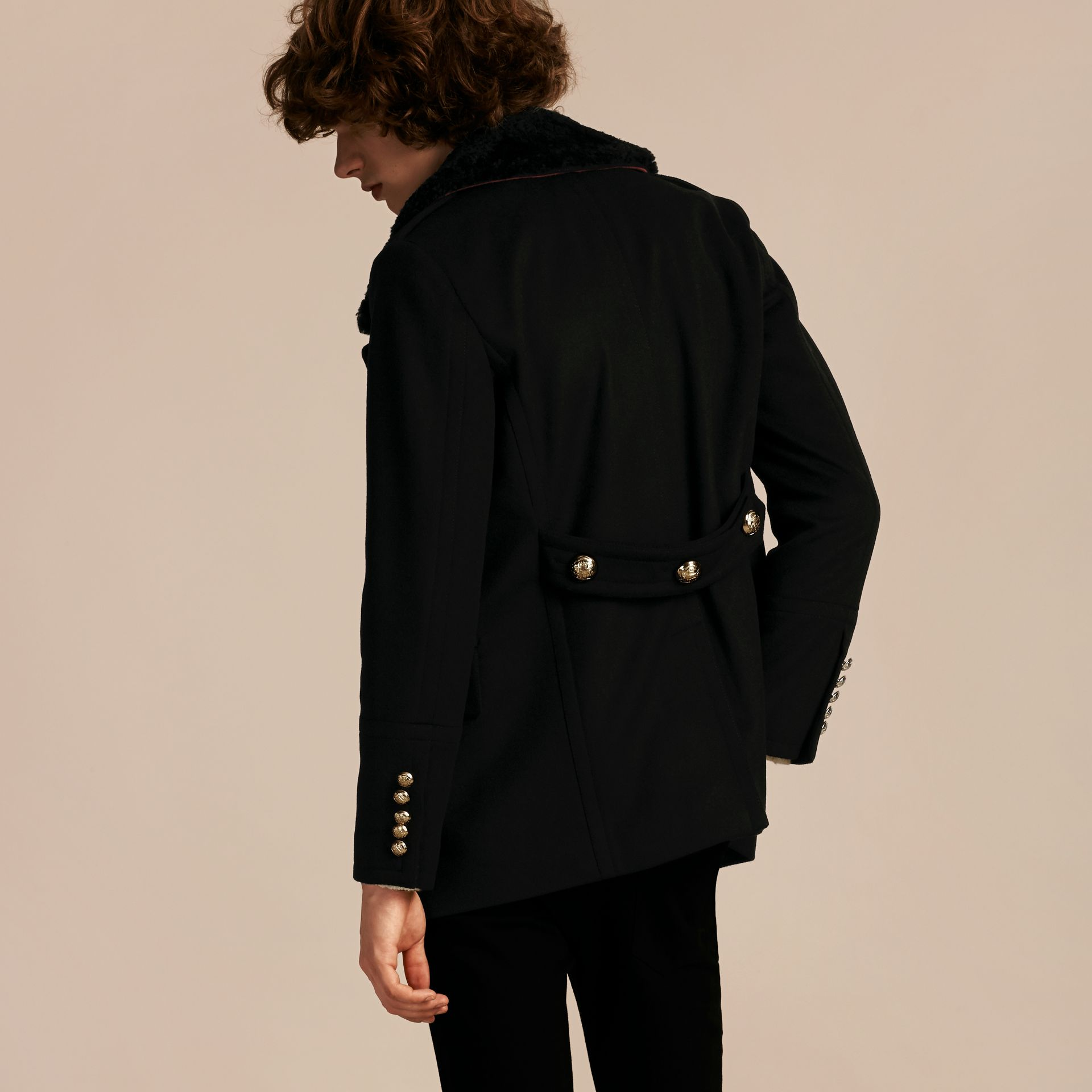 Black Military Pea Coat with Detachable Shearling Collar - gallery image 3