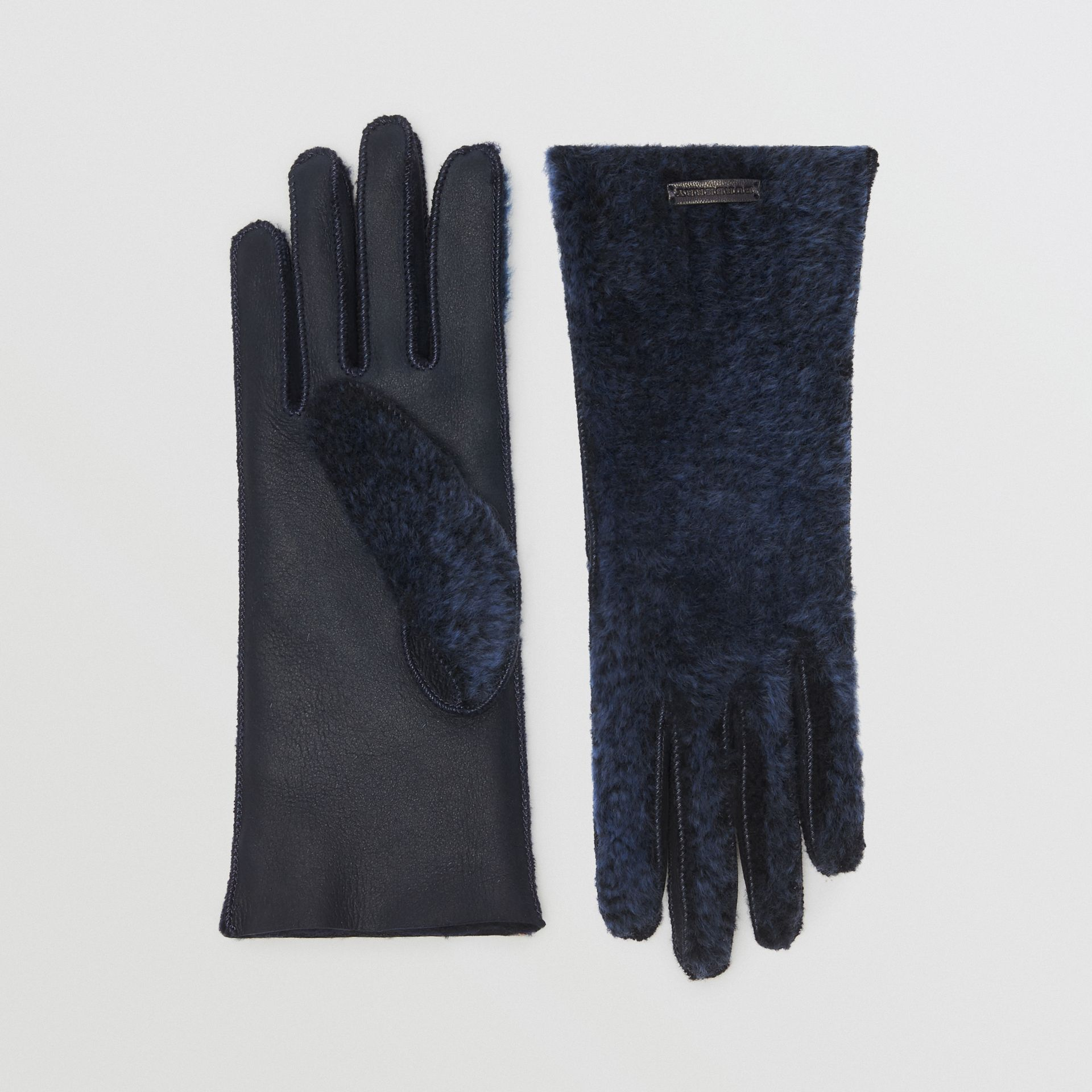 Shearling and Leather Gloves in Navy | Burberry - gallery image 0