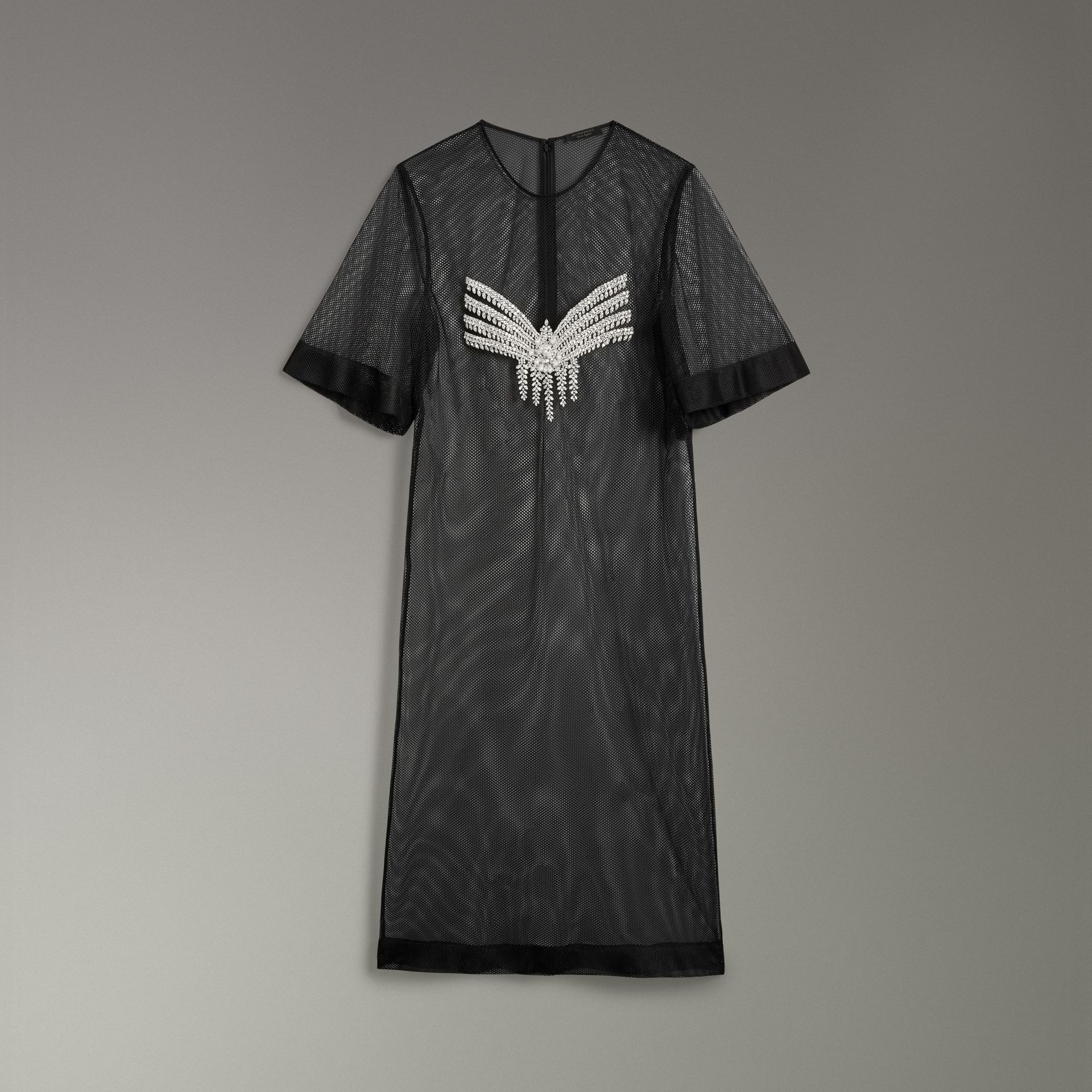 Robe t-shirt diaphane avec cristaux (Cristal) - Femme | Burberry Canada - photo de la galerie 3