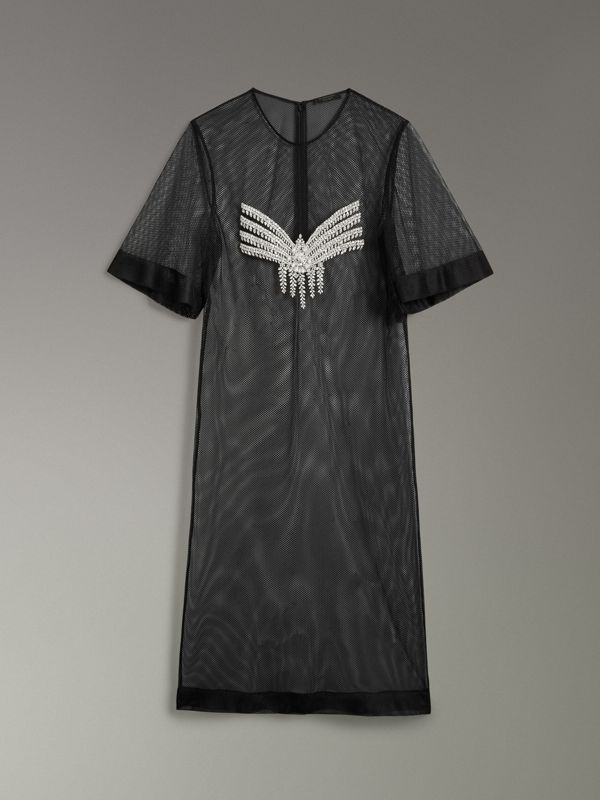 Crystal-embellished Sheer T-shirt Dress - Women | Burberry Hong Kong - cell image 3