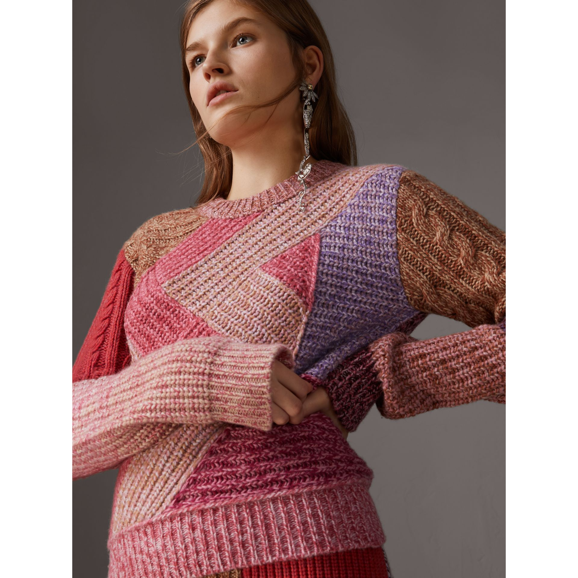 Cashmere-wool Mouliné  Patchwork Sweater in Multicolour - Women | Burberry Singapore - gallery image 4