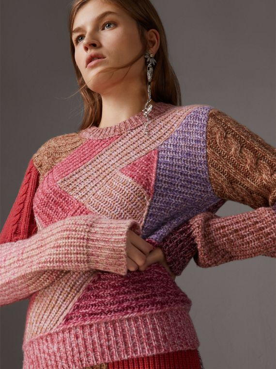 Cashmere-wool Mouliné  Patchwork Sweater in Multicolour