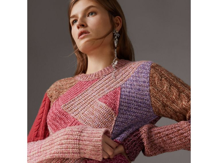Cashmere-wool Mouliné  Patchwork Sweater in Multicolour - Women | Burberry - cell image 4