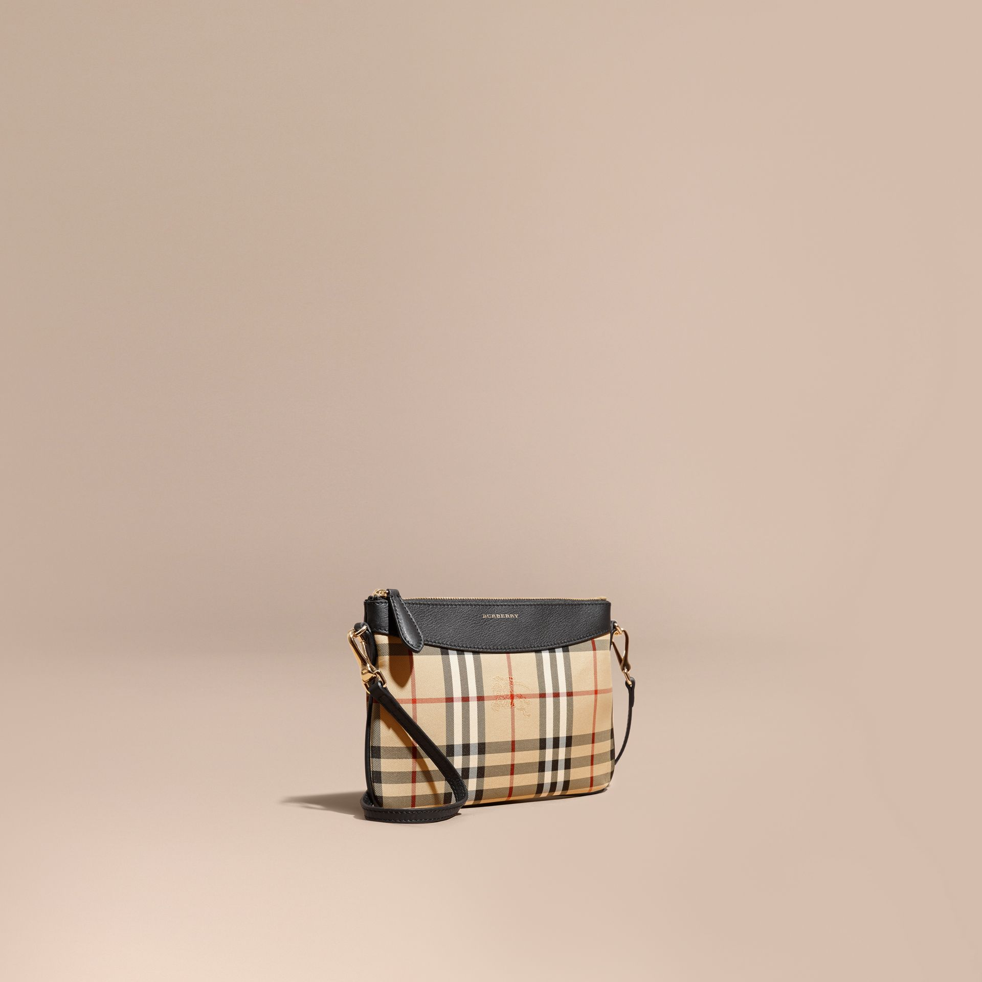 Horseferry Check and Leather Clutch Bag Black - gallery image 1
