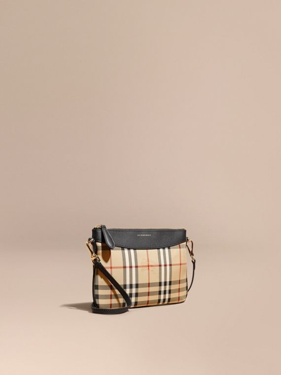 Pochette con pelle e motivo Horseferry check (Nero) - Donna | Burberry
