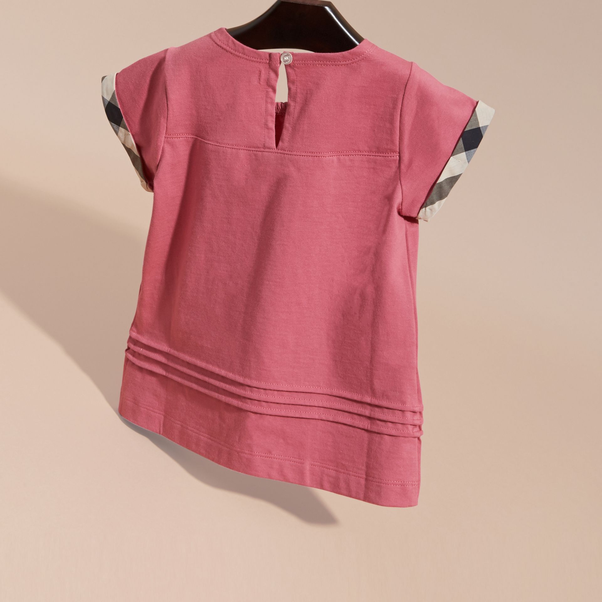 Pleat and Check Detail Cotton T-shirt in Pink Azalea - gallery image 4