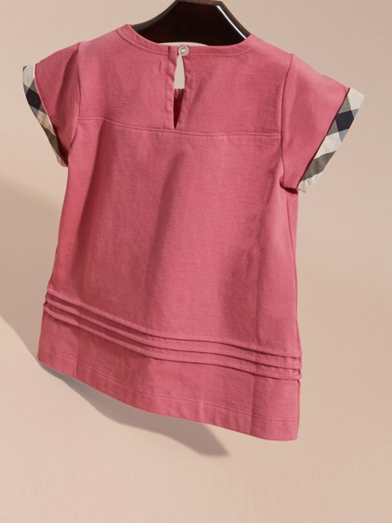 Pleat and Check Detail Cotton T-shirt in Pink Azalea - cell image 3