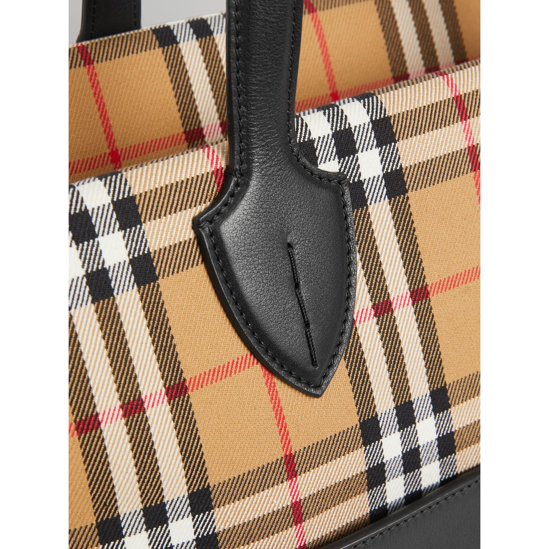 Vintage Check and Leather Baby Changing Tote in Black - Children | Burberry United States - gallery image 1