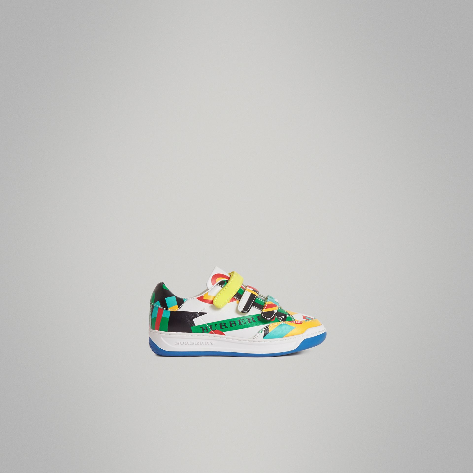 Graphic Print Leather Sneakers in Multicolour | Burberry Australia - gallery image 3