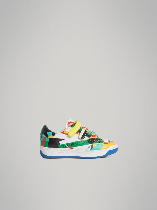 Graphic Print Leather Sneakers in Multicolour | Burberry Australia - cell image 3