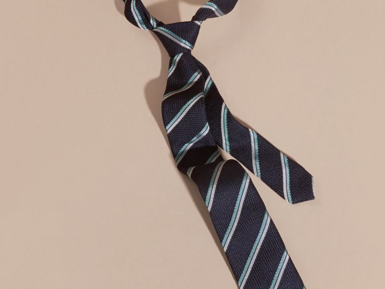 Navy Slim Cut Textured Striped Silk Tie - cell image 2