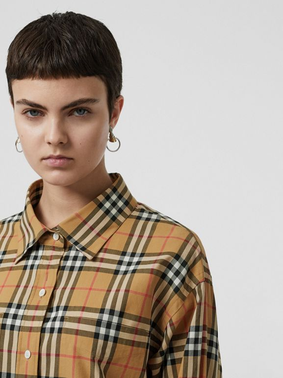 Vintage Check Cotton Oversized Shirt in Antique Yellow - Women | Burberry - cell image 1