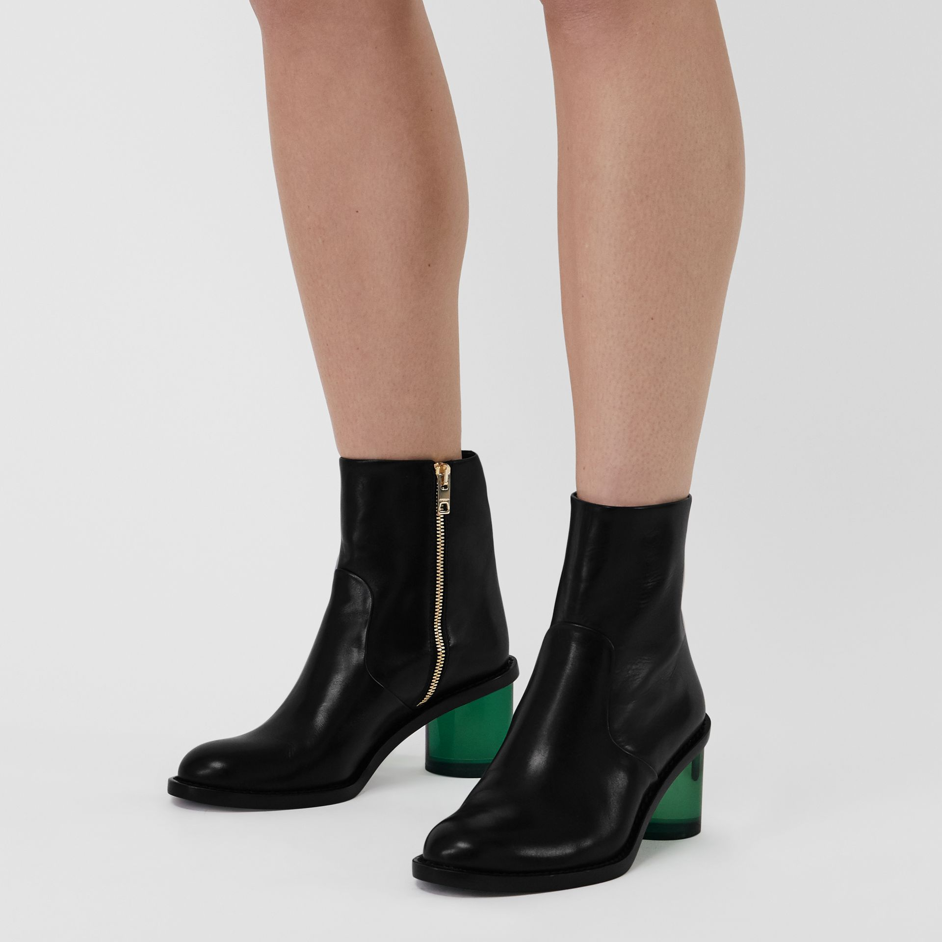 Two-tone Leather Block-heel Boots in Black - Women | Burberry United Kingdom - gallery image 2