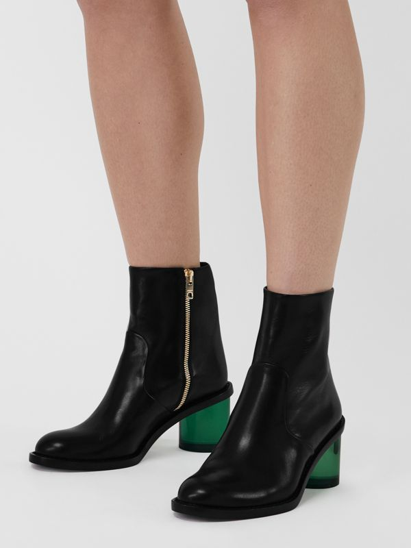 Two-tone Leather Block-heel Boots in Black - Women | Burberry - cell image 2