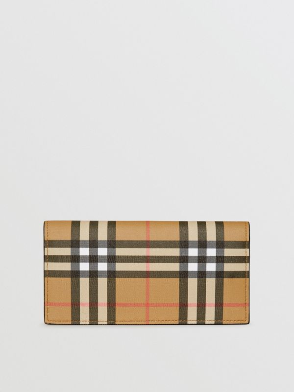 Vintage Check and Leather Continental Wallet in Antique Yellow/black - Men | Burberry Canada - cell image 2