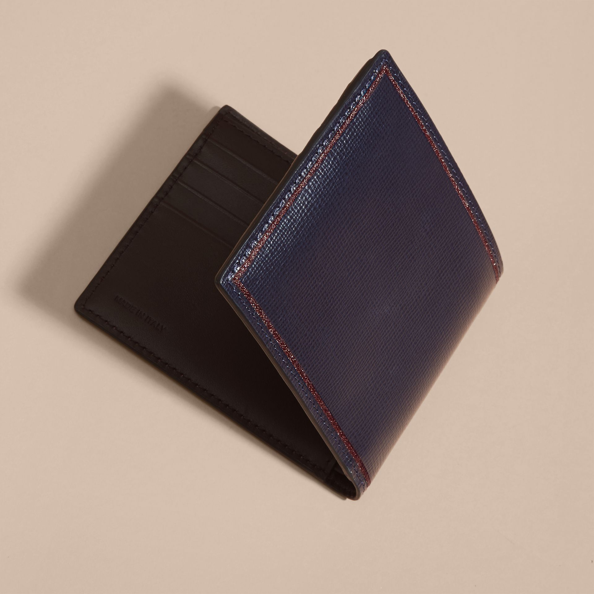 Border Detail London Leather Folding Wallet Dark Navy - gallery image 3