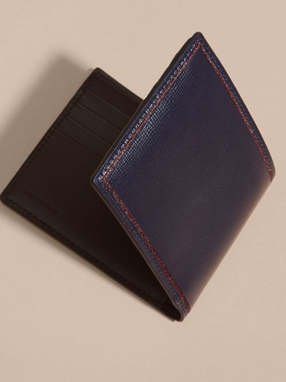 Dark navy Border Detail London Leather Folding Wallet Dark Navy - cell image 2