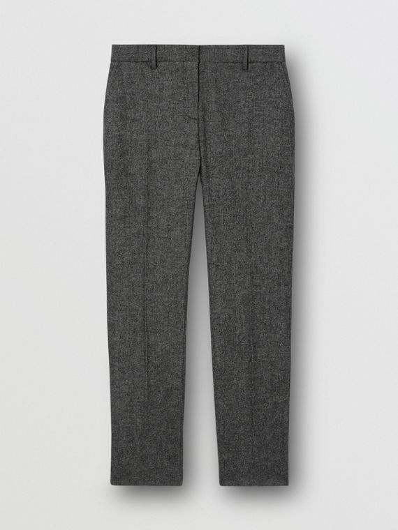 Wool Cashmere Tweed Cropped Tailored Trousers in Black Melange