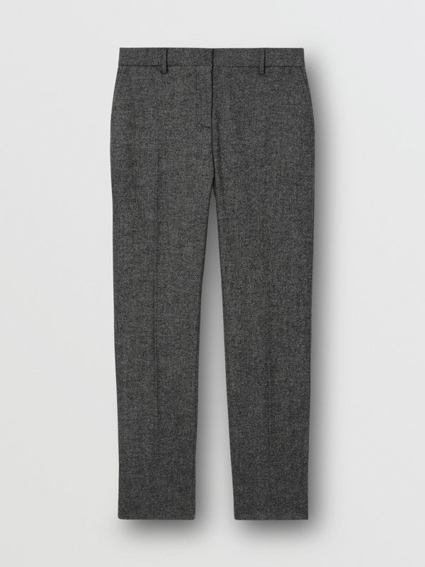 Wool Cashmere Tweed Cropped Tailored Trousers in Black Melange - Women | Burberry - cell image 3