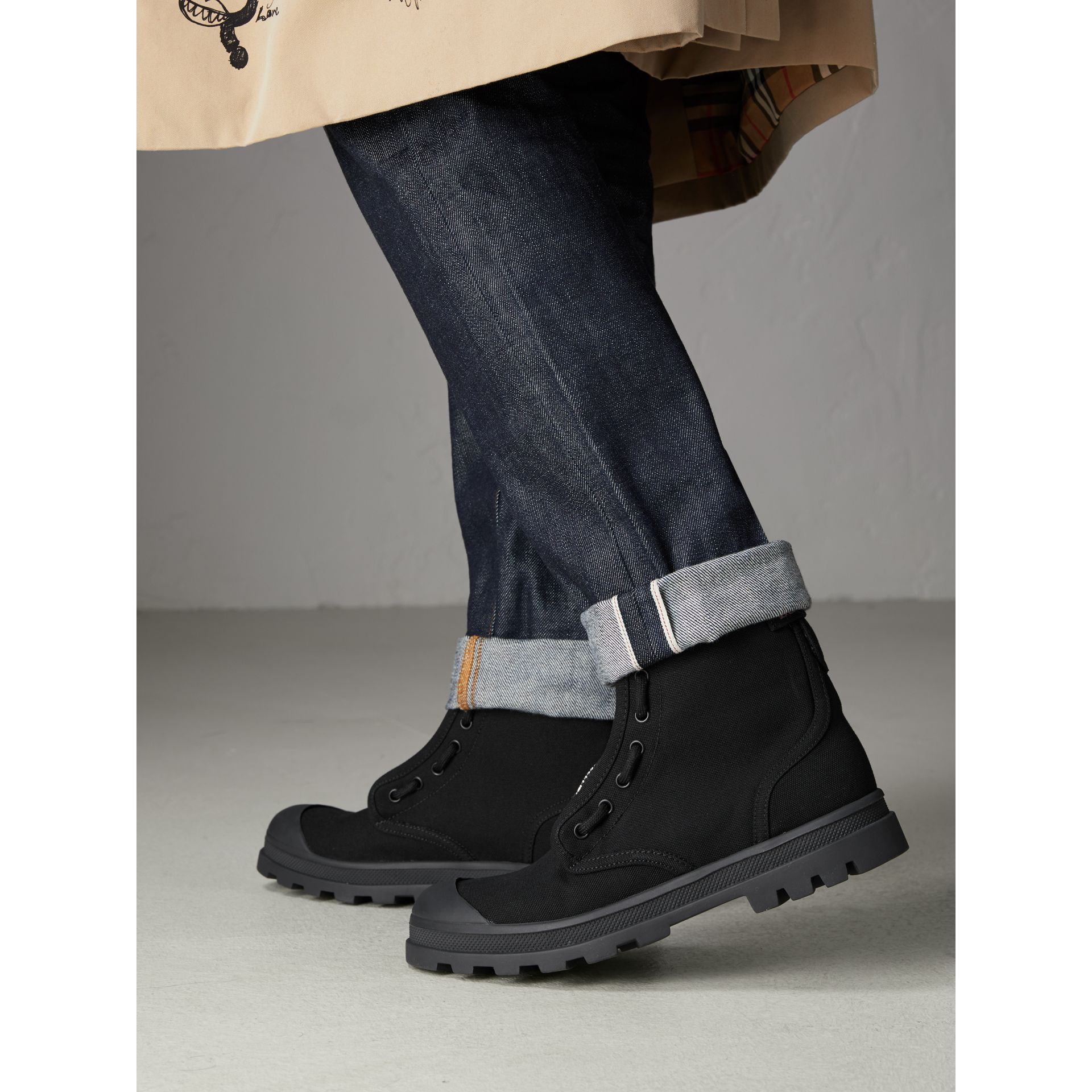 Zipped Cotton Canvas Boots in Black - Men | Burberry - gallery image 2