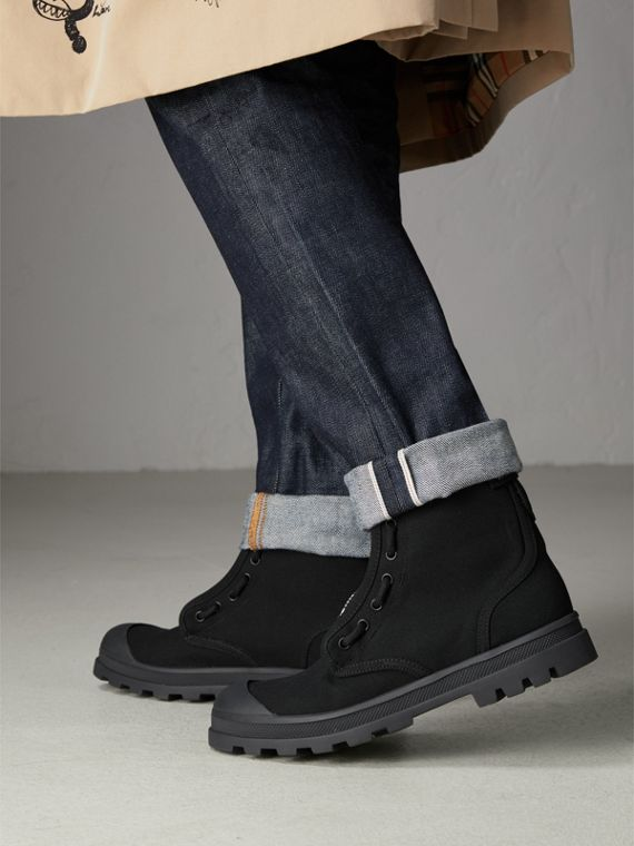 Zipped Cotton Canvas Boots in Black - Men | Burberry United Kingdom - cell image 2