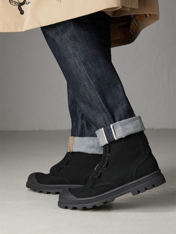 Zipped Cotton Canvas Boots in Black - Men | Burberry - cell image 2