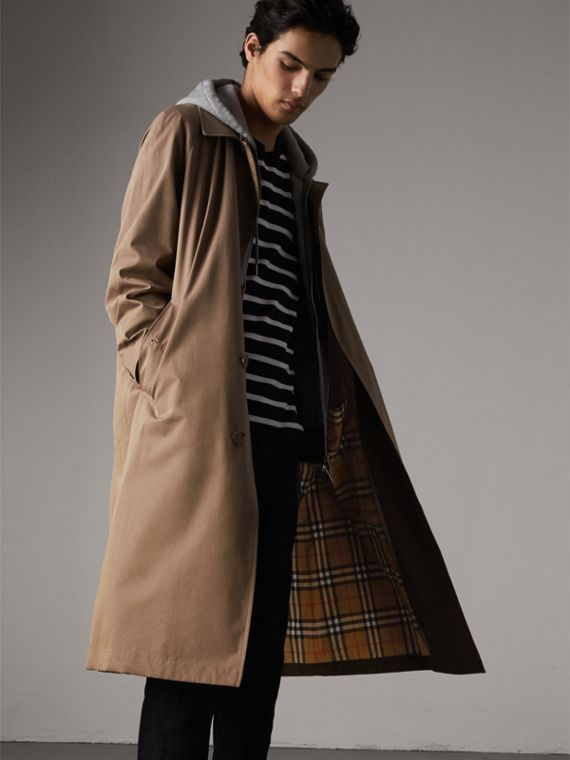 The Brighton – Longline Car Coat in Taupe Brown - Men | Burberry