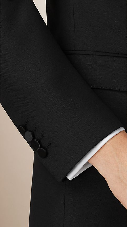 Black Slim Fit Wool Mohair Half-canvas Tuxedo - Image 4