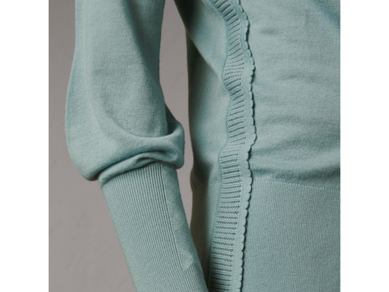 Open-knit Detail Cashmere Cardigan in Eucalyptus Green - Women | Burberry - cell image 1